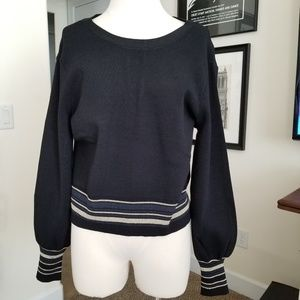 Rachel Rachel Roy black sweater w stripes tie back